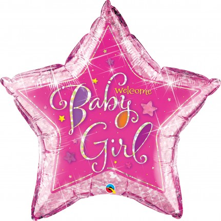 BALÃO ESTRELA WELCOME BABY GIRL