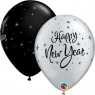 BALÕES PRETO/PRATEADO HAPPY NEW YEAR