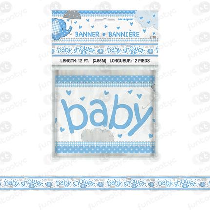 FAIXA METAL ELEFANTE AZUL BABY SHOWER