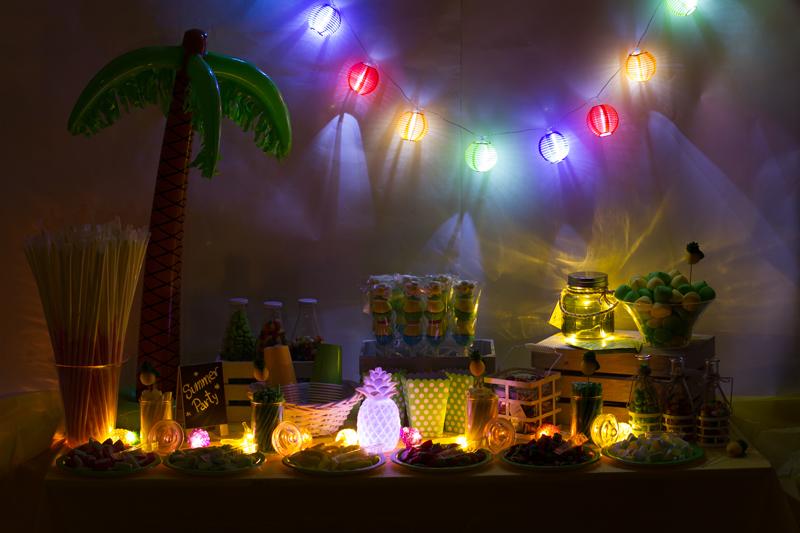 Mesa dulce de verano de noche