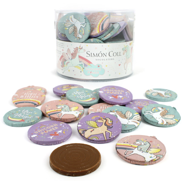 MOEDAS DE CHOCOLATE UNICORNIO