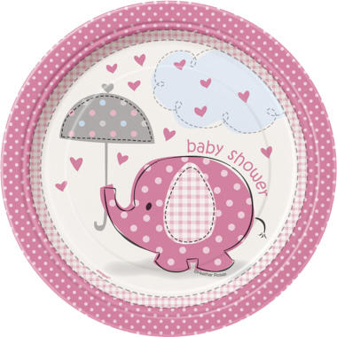 PRATOS ELEFANTE ROSA BABY SHOWER