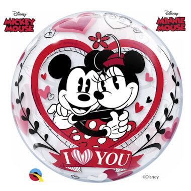 BALÃO BUBLE MICKEY E MINNIE I LOVE YOU