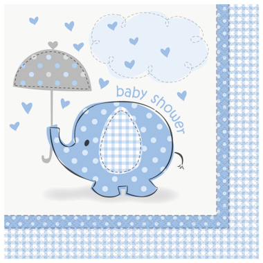 GUARDANAPOS BABY SHOWER ELEFANTES AZUL